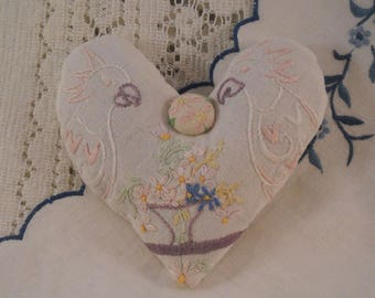 Lavender Heart Sachet 2 Cockatoos Vintage Embroidery Shabby Cottage Chic
