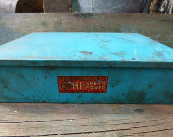 Vintage Metal Tool box Turquoise blue Advertising box Supply storage Preferred Electric Wire compartments parts pieces