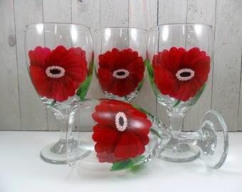 Water Glasses Red Poppy Flower Hand Painted Goblet Tea Glasses - Set of 4