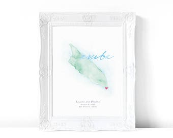 Aruba Watercolor Map | Destination Map Print | Personalized Watercolor Map | Honeymoon Map | Anniversary Map | Watercolor Wedding Map
