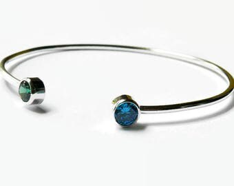 Dual birthstone bangle bracelet layering jewelry, sterling silver bangle bracelet, adjustable bangle stacking bracelet
