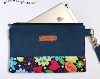 Choose your fabric Smartphone Wristlet iPhone 10, X, 8, 7, 6 plus Samsung Galaxy S8 Card Holders Zipper Closure Love OXOX Blue