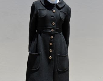 Vintage 60's heavy wood MISS BERGDORF dress coat original american mid century design small by thekaliman