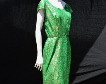 Vintage 60's brocade green and gold shimmering PEGGY HUNT bodycon Marilyn dress size 8 by thekaliman