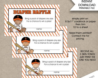 Giants Baseball baby shower diaper raffle tickets, 3 skin tones, boy baby shower games INSTANT DOWNLOAD print your own baby shower games