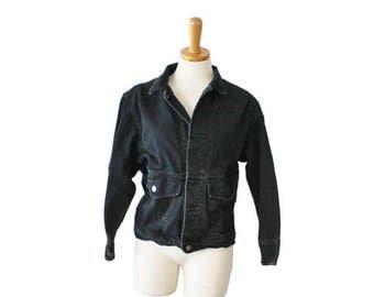 50% half off sale // Early 90s Calvin Klein Sport Petite Jean Jacket - Ladies Small - Black Denim