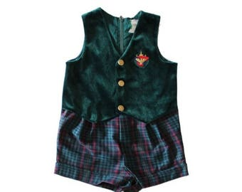 50% half off sale // Vintage 90s Nautical Baby Romper Green Velvet Plaid Shorts - boys girls 18 months