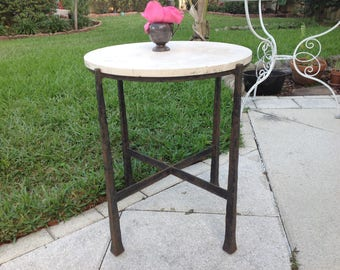 BRUTALIST STYLE SIDE Table / Wrought Iron Paul Evans Style Side Table with Marble top / Mid Century Modern Style at Retro Daisy Girl