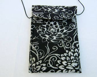 Black and White Floral Batik Passport Bag