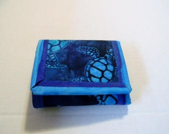 Sea Turtle Batik Trifold Wallet