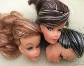 3 Barbie heads with frosted hair, 1960's excellent condition