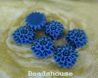 37-00-2935-CA  6 Pcs Natural Shape Chrysanthemum Cabochons - Royal Blue