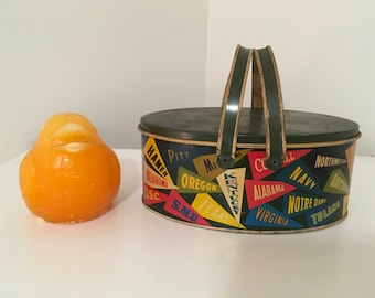 """Antique Decorative Tin Box Basket, Vintage College Lunch Pail, College Sports Pennant, Picnic, 8.5""""x5.5""""x3.5"""", Mid Century at Modern Logic"""