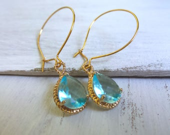 Blue Jewel Earrings, Teardrop Earrings, Baby Blue Earrings, Gold Teardrop, Blue Topaz Earring, Summer Outdoors, Summer Party, Gifts Under 20