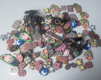 Lot of Polymer Clay Caned Beads