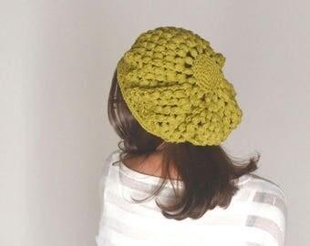 Summer Sale 10% Off - Crochet Beret Hat Cotton Summer Beret Hat Crochet Tam Spring Snood Hat Boho Hippie Rasta Beret More Color Options
