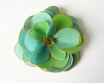 Hand painted silk rose brooch - tropical mix of teal, turquoise green and golden yellow - hand painted silk flower brooch