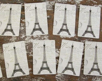 French Script Eiffel Tower Playing Cards 12 pc for Tag Making Scrapbooking Wedding and More