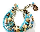 Turquoise and tan beaded bracelet, four strand beaded bracelet, bronze chain, Czech glass beads, jewelry gift