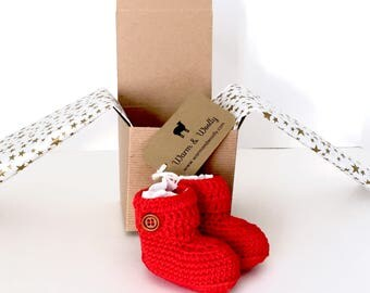 Short Button Cuff Baby Booties in Red Merino Wool