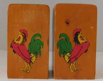 Wooden Hand Painted Rooster Salt and Pepper shaker set