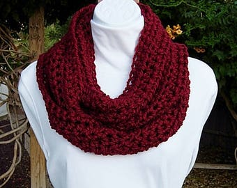 Solid Dark Red INFINITY SCARF Women's Extra Soft Loop Cowl, Crochet Knit Warm Winter Lightweight Circle Eternity..Ready to Ship in 2 Days
