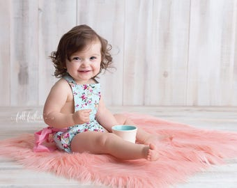 Coral Pink Peach Mongolian Faux Fur Nest Photography Prop Rug Newborn Baby Toddler - Many Sizes!