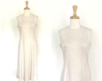 Vintage 70s dress - cream - midi - day dress - shift dress - sleeveless - Medium