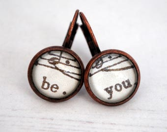 Music Note Earrings, Be You Earrings, Inspirational Words, Music Jewellery, Be Yourself, Believe In Yourself, Vintage Style, Motivational