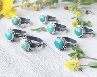 Royston Turquoise Ring - Thunderbird Tracks - Handstamped Band - Sterling Silver - By Ashley Goings