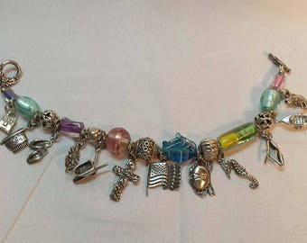 Artist Handmade Recycled Mixed Media Lampwork Glass Bead and Sterling Charm Bracelet