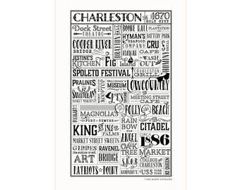 Charleston, South Carolina Letterpress City Wall Art Print Poster Gift