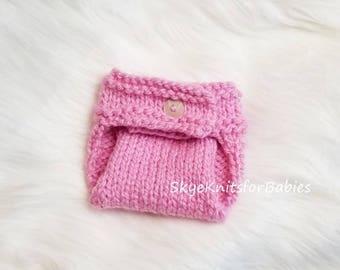 Knitted Newborn Diaper Cover, Knit Diaper Cover to Match Knit Baby Hat, Knit Baby Diaper Cover, Newborn Photo Prop