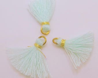 Mini Cotton Jewelry Tassels with Gold Binding and Gold Plated Jump Ring, Pale Mint Tassels, 3 pcs - Approx 10mm - MT20