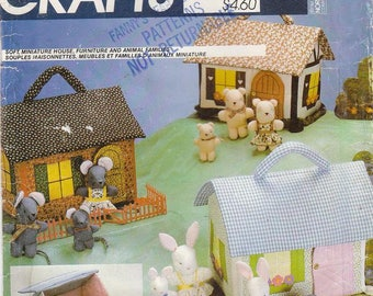 Vintage Sewing Pattern Miniature Houses Bear Bunny Mouse Family Toys 1982