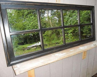 56 x 24  black Distressed Framed Mirror, Window Mirror, window pane,, Window Sash Mirror, shabby Chic Mirror, Rustic Wood Mirror