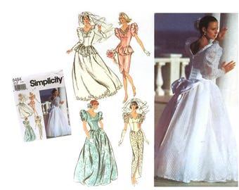 Wedding Gown Pattern, Wedding Dress Pattern, Bridal Gown Pattern, Bridesmaid Dress Pattern, 90's Vintage Simplicity 8484 Sewing Pattern