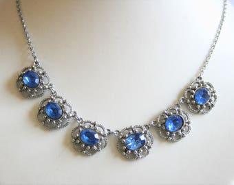 Vintage blue crystal necklace. Sparkling necklace.  Vintage jewellery