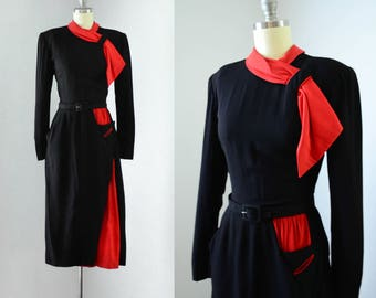 Vintage 1940's Color Block Rayon Dress