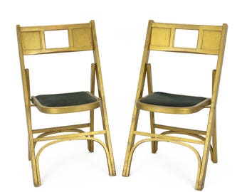 Set of 2 Vintage Funeral Home Wooden Folding Chairs W/ Velvet Seat
