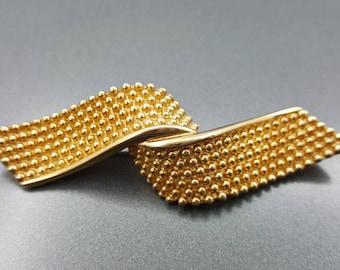 Napier Swirl Ribbon Brooch  Beautiful  Swag of Gold Modern