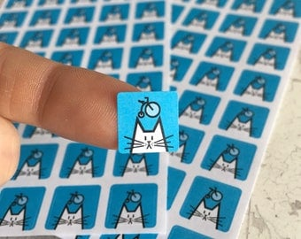 Cycling cat planner stickers, 12mm square, 80 icon stickers