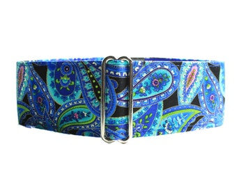 Paisley Martingale Collar, Blue Martingale Collar, 2 Inch Martingale Collar, Blue Paisley Martingale, Paisley Dog Collar, Blue Dog Collar