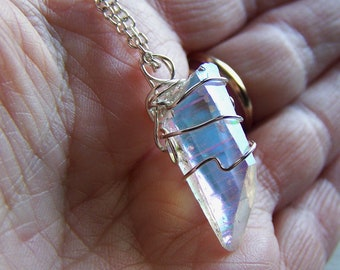 Angel Aura Quartz Crystal Iridescent Gemstone Pendant