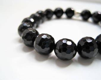 Black Onyx Beaded Bracelet / Faceted Stone Stacking Bracelet / Inner Strength Personal Energy