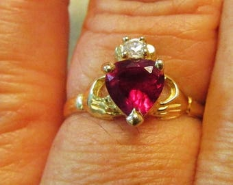 On Sale Vintage Estate 14KT Gold Synthetic Ruby Diamond Claddagh Ring