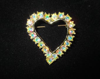 Vintage Costume Jewelry Brooch and Earrings Lot-Pin-Heart-Valentines-Sparkly AB's