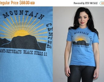 On SALE 45% Off - 70s Vintage Graphic Nature Camp Paper Thin 50 50 Cotton Poly T Shirt - 70s Clothing - WV0092