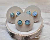 20% EARRING STUD SALE Gold Round Abalone Stud Earrings/ Gold Stud Post Earrings Natural Iridescent Abalone Natural Shell Abalone Rainbow Gol