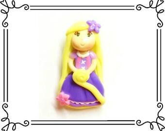 Cold Porcelain Clay Princess Rapunzel Figurine, Ornament, Pendant, Bow Center, Purse Charm, Brooch, Magnet, Rapunzel Necklace, Jewelry